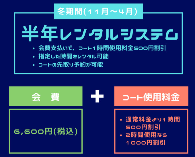 札幌 冬 テニスコートレンタル 半年レンタルシステム 予約受付 プレイスオブスポーツネオ