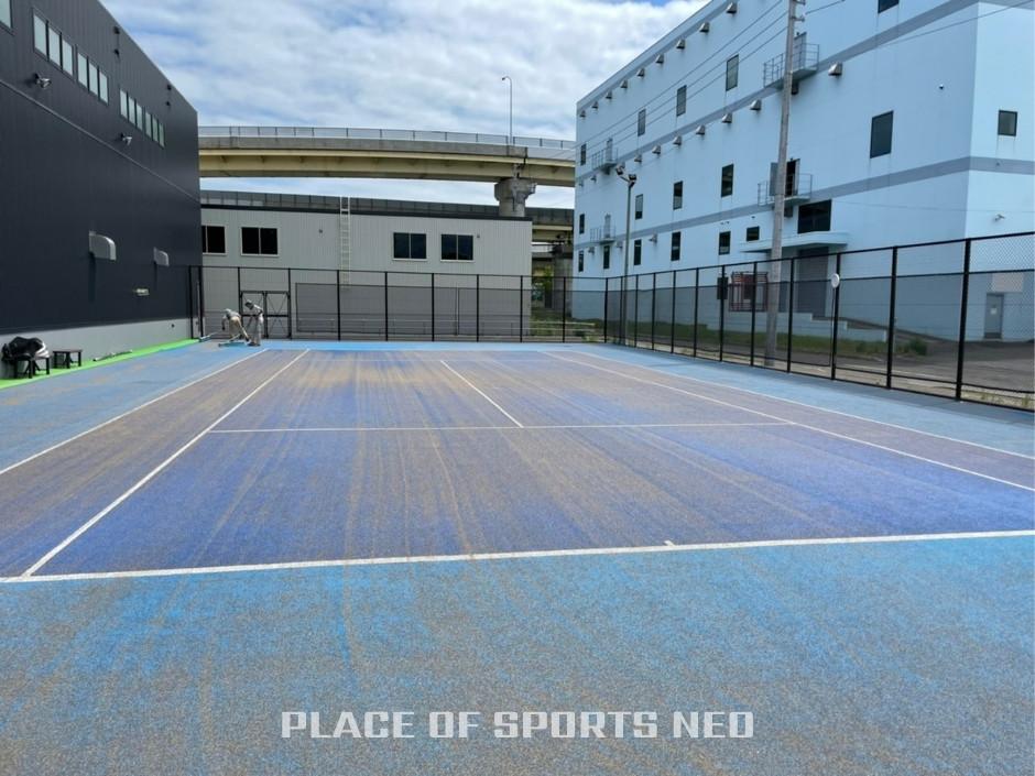 札幌レンタルテニスコート プレイスオブスポーツネオ 屋外テニスコート整備